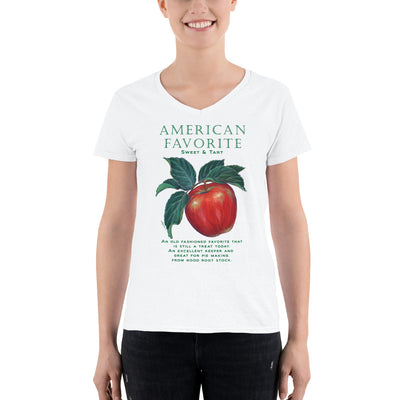 FUNNY GARDEN T SHIRT APPLE American Favorite Women's Casual V-Neck Shirt - Liz Lauter Designs