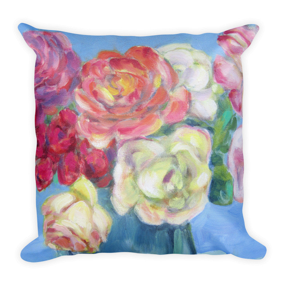 Roses on Blue 2 Pillow - Liz Lauter Designs 526f4db6f75