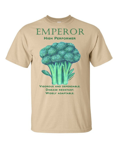 "Broccoli ""Emperor-High Performer"" Short sleeve cotton men's t-shirt available in colors - Liz Lauter Designs"