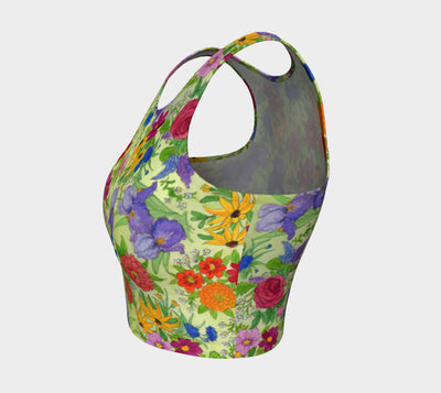 Flower Garden Athletic Crop Top - Liz Lauter Designs