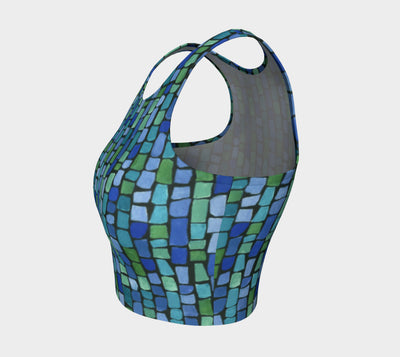 Blue & Green Tiles Athletic Crop Top - Liz Lauter Designs