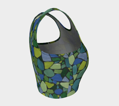 Blue & Green Mosaics Athletic Crop Top - Liz Lauter Designs