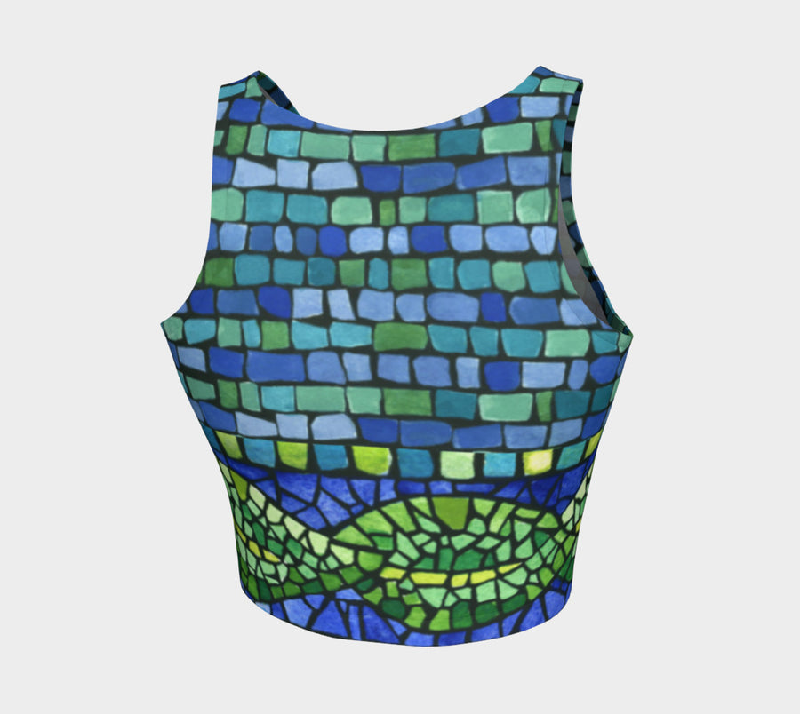 Green Leaf Tiles Athletic Crop Top - Liz Lauter Designs