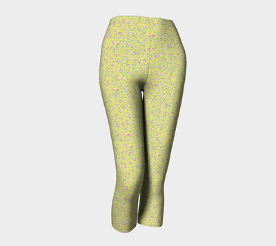 Yellow Flowers Capri Leggings - Liz Lauter Designs