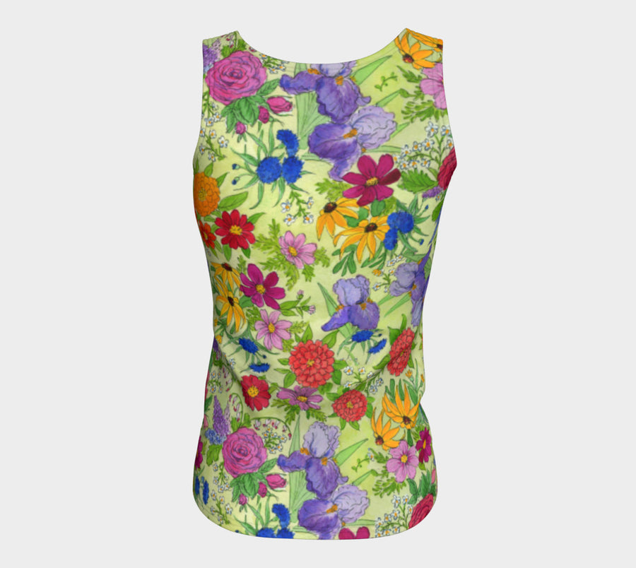 GARDEN FLORAL Fitted TANK TOP long - Liz Lauter Designs