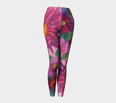 Pink Dahlias Leggings - Liz Lauter Designs