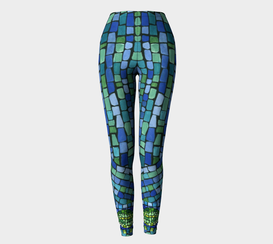 Blue & Green Tiles Leggings - Liz Lauter Designs