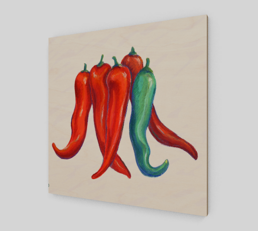 CHILI PEPPER WOOD PRINT - Liz Lauter Designs