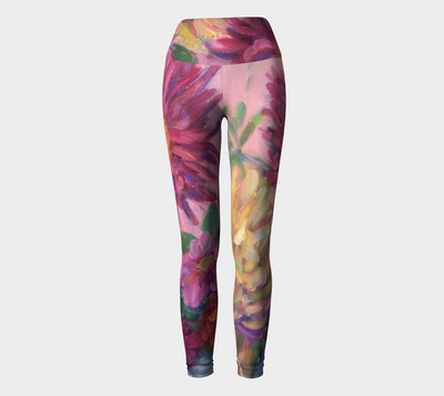 Pink Dahlias Yoga Pants - Liz Lauter Designs