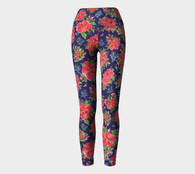 HIBISCUS NAVY Yoga Pants - Liz Lauter Designs