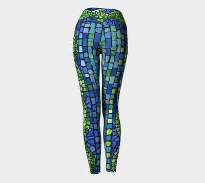 BLUE GREEN LEAF BORDER TILE YOGA PANTS - Liz Lauter Designs