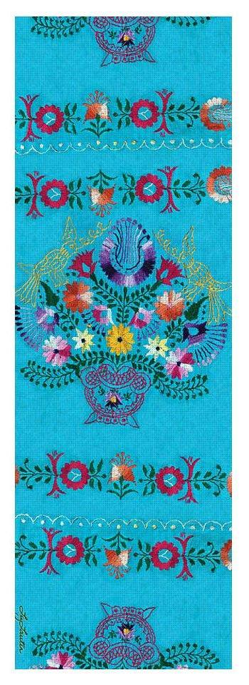 Turquoise Embroidery - Yoga Mat - Liz Lauter Designs