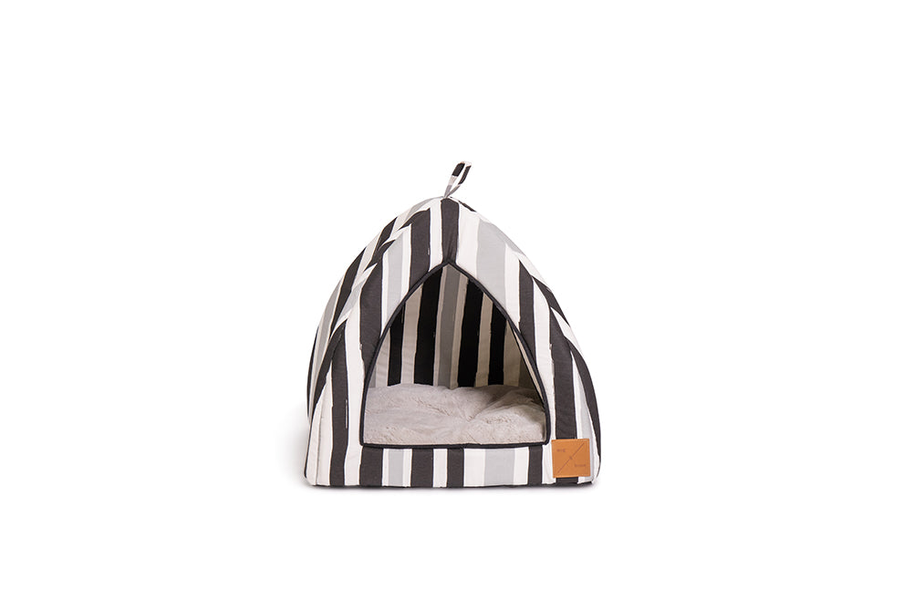 Cat Igloo - Pebble Black Brush Stroke Print