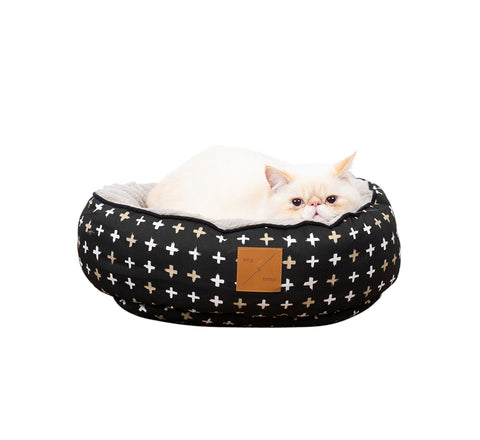 Reversible Cat Bed - Black Metallic Cross Print