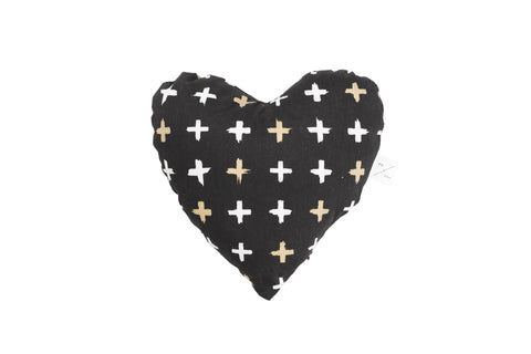 Heart Shaped Soft Toy - Black Metallic Cross Print