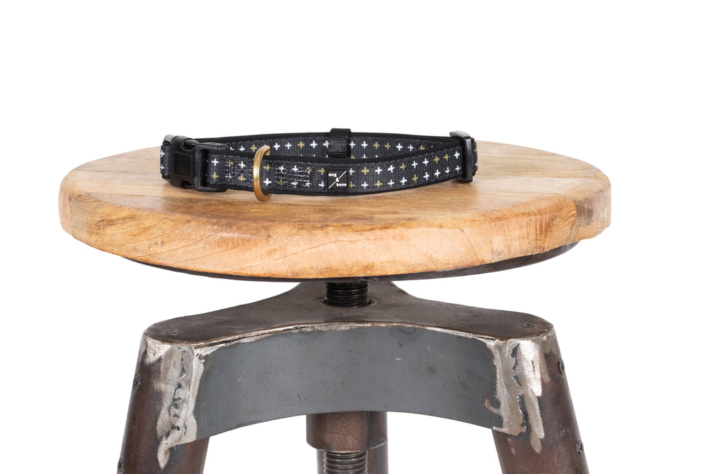 Neoprene Collar - Black Metallic Cross Print
