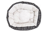 4 Seasons Reversible Circular Bed - Black Metallic Cross Print