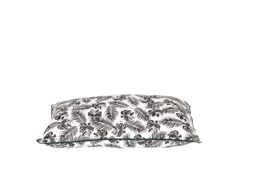 Futon - Black Tropical Leaves Print