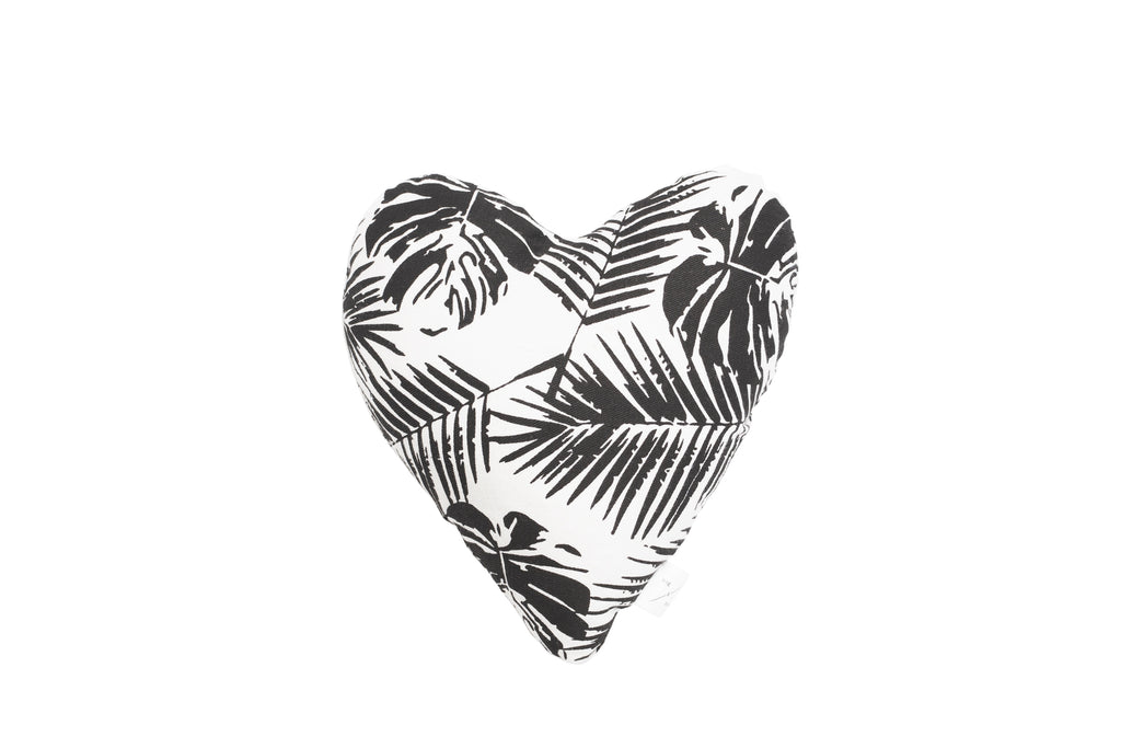 Heart Shaped Soft Toy - Black Tropical Leaves Print