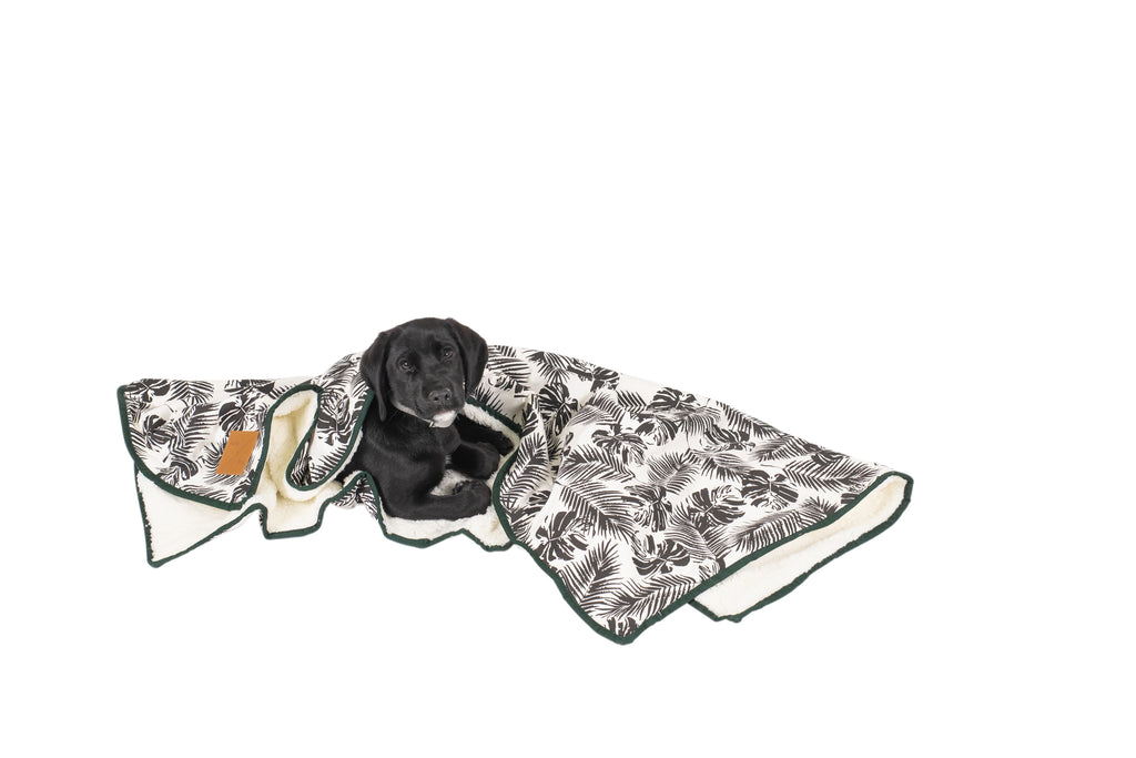 Fleece Blanket - Black Tropical Leaves Print