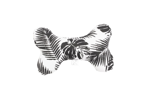 Printed Bone Soft Toy - Black Tropical Leaves Print