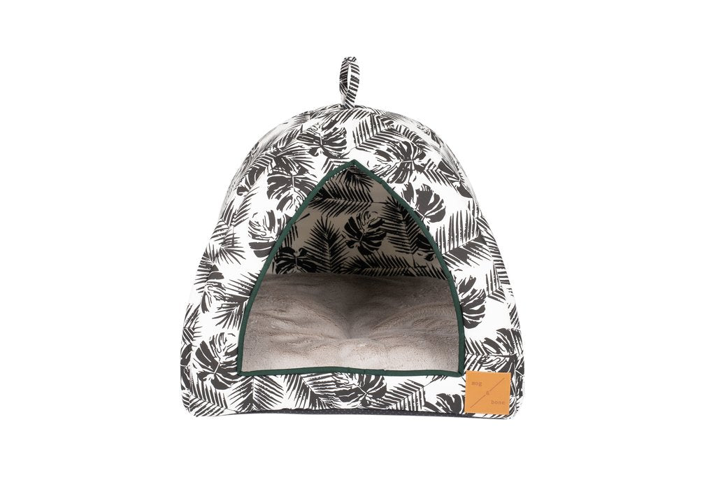 Cat Igloo - Black Tropical Leaves Print