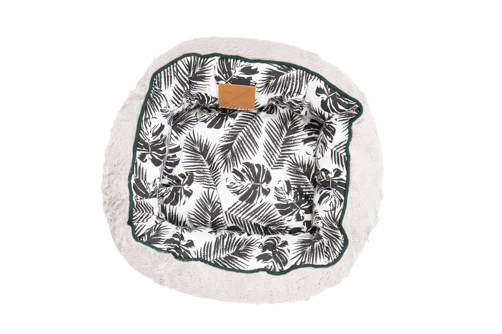 Reversible Cat Bed - Black Tropical Leaves Print