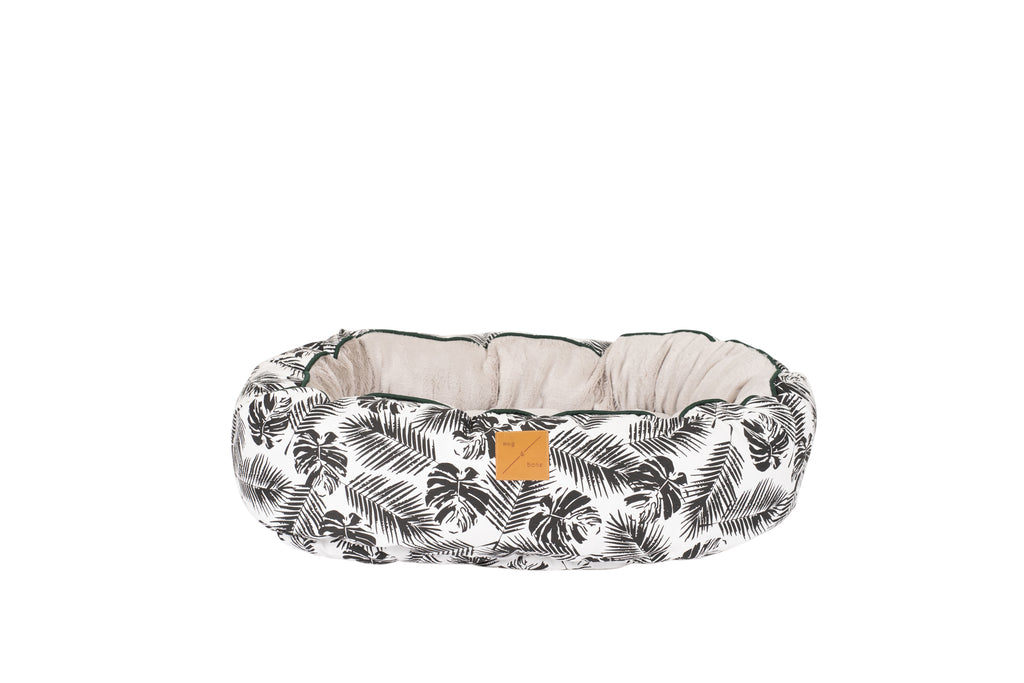 4 Seasons Reversible Circular Bed - Black Tropical Leaves Print