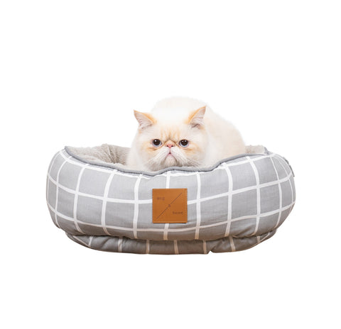 Reversible Cat Bed - Grey Check Print