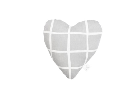 Heart Shaped Soft Toy - Grey Check Print