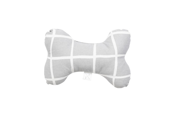 Printed Bone Soft Toy - Grey Check Print
