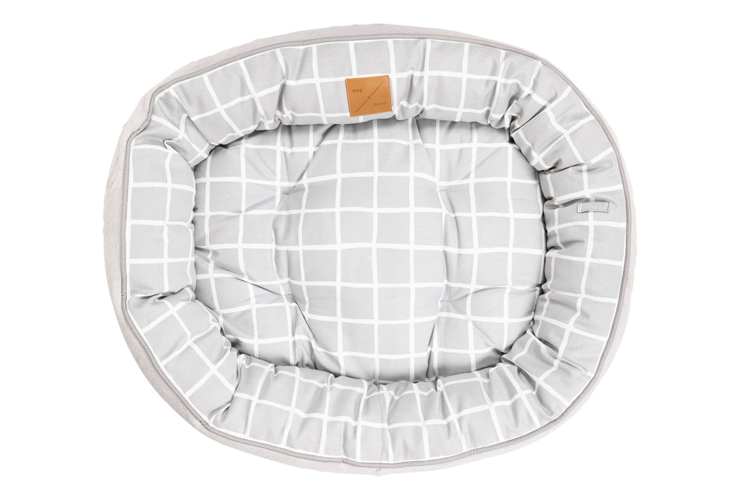 4 Seasons Reversible Circular Bed - Grey Check Print