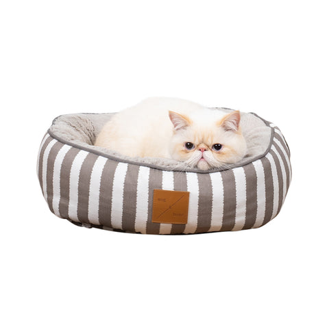 Reversible Cat Bed - Latte Hamptons Stripe Print