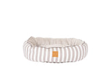 4 Seasons Reversible Circular Bed - Latte Hamptons Stripe Print
