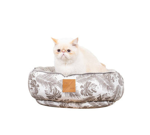 Reversible Cat Bed - Mocca Tropical Leaves Print