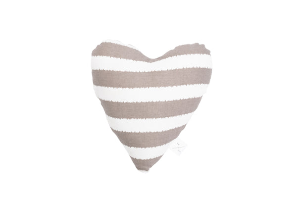 Heart Shaped Soft Toy - Latte Hamptons Stripe Print