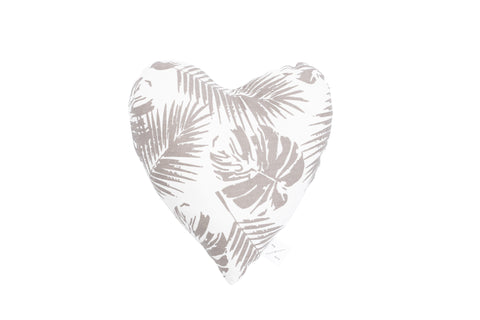 Heart Shaped Soft Toy - Mocca Tropical Leaves Print