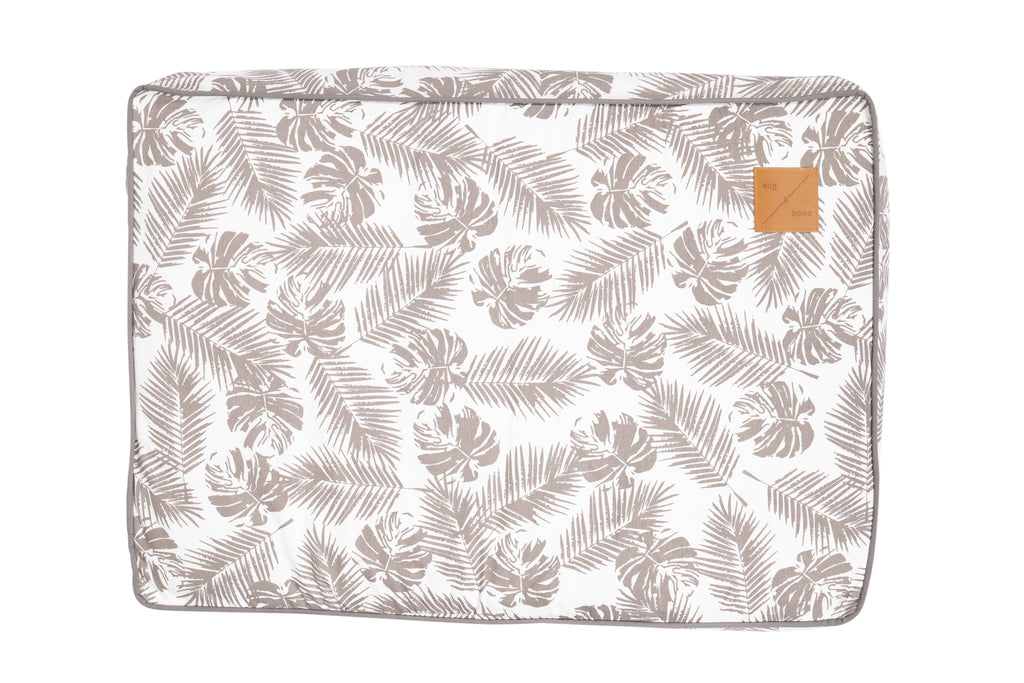 Classic Cushion Bed - Mocca Tropical Leaves Print