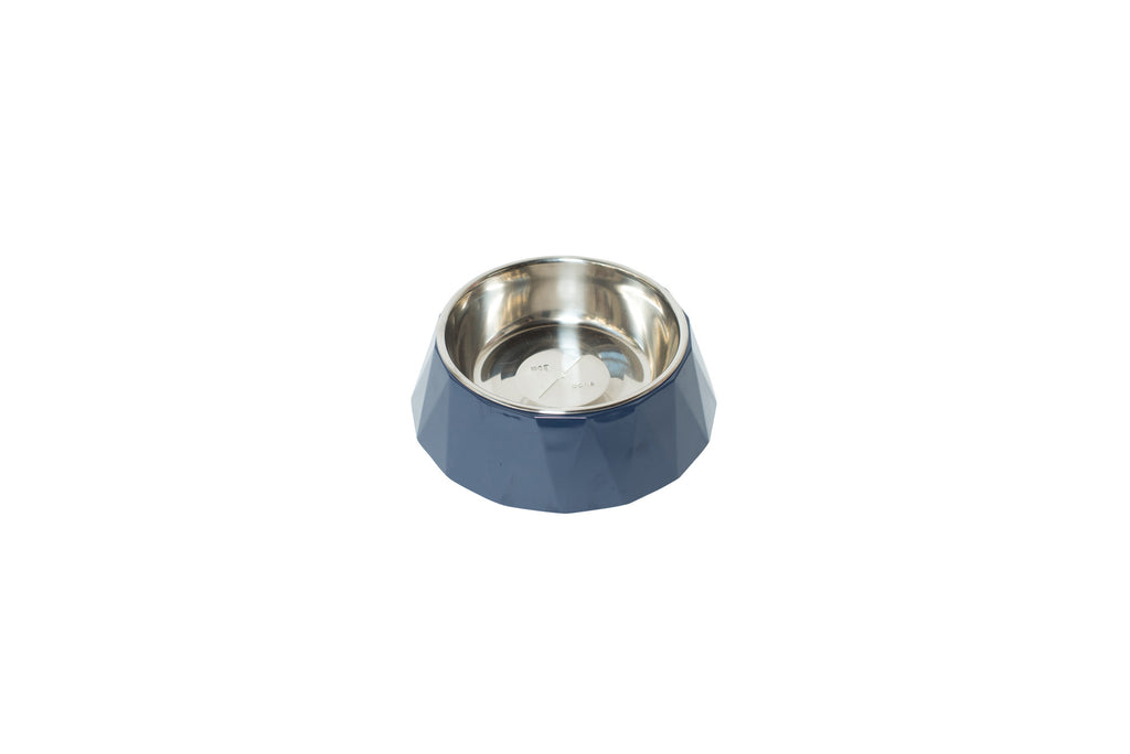 Faceted Designer Melamine Dog Bowl -  Navy