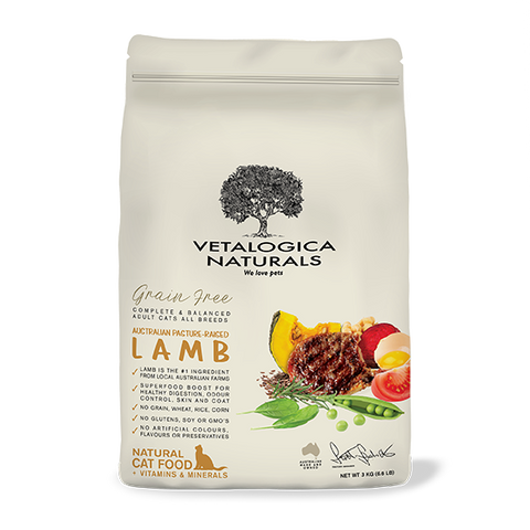Vetalogica Naturals Grain Free Lamb Adult Cat Food - 3kg