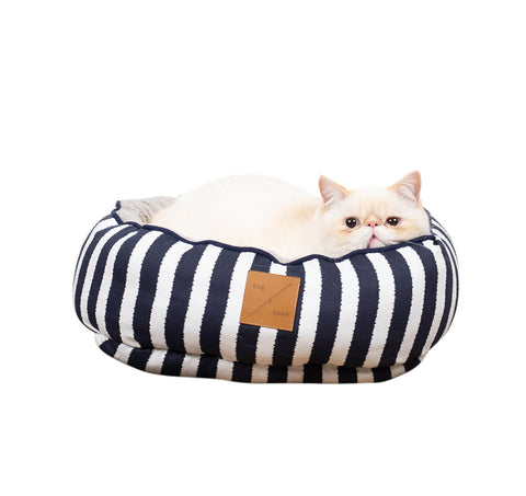 Reversible Cat Bed - Navy Hamptons Stripe Print