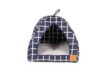 Cat Igloo - Navy Check Print