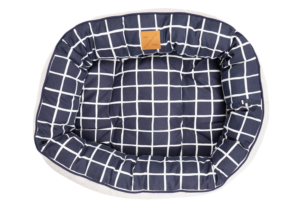 4 Seasons Reversible Circular Bed - Navy Check Print