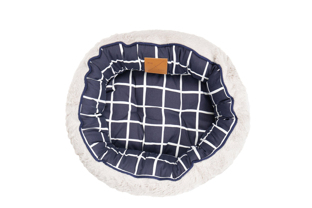 Reversible Cat Bed - Navy Check Print