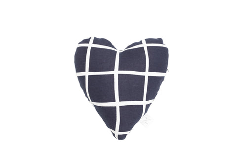 Heart Shaped Soft Toy - Navy Check Print