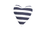 Heart Shaped Soft Toy - Navy Hamptons Stripe Print