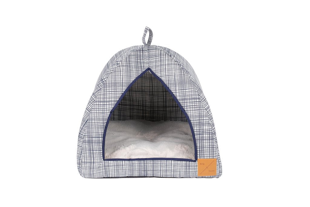 Cat Igloo - Navy Linen Stripe Print
