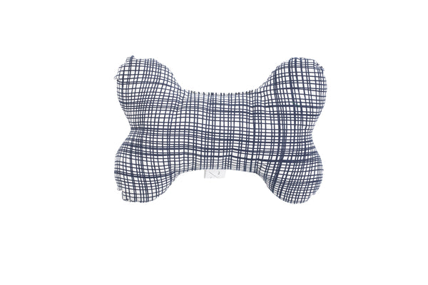 Printed Bone Soft Toy - Navy Linen Check Print