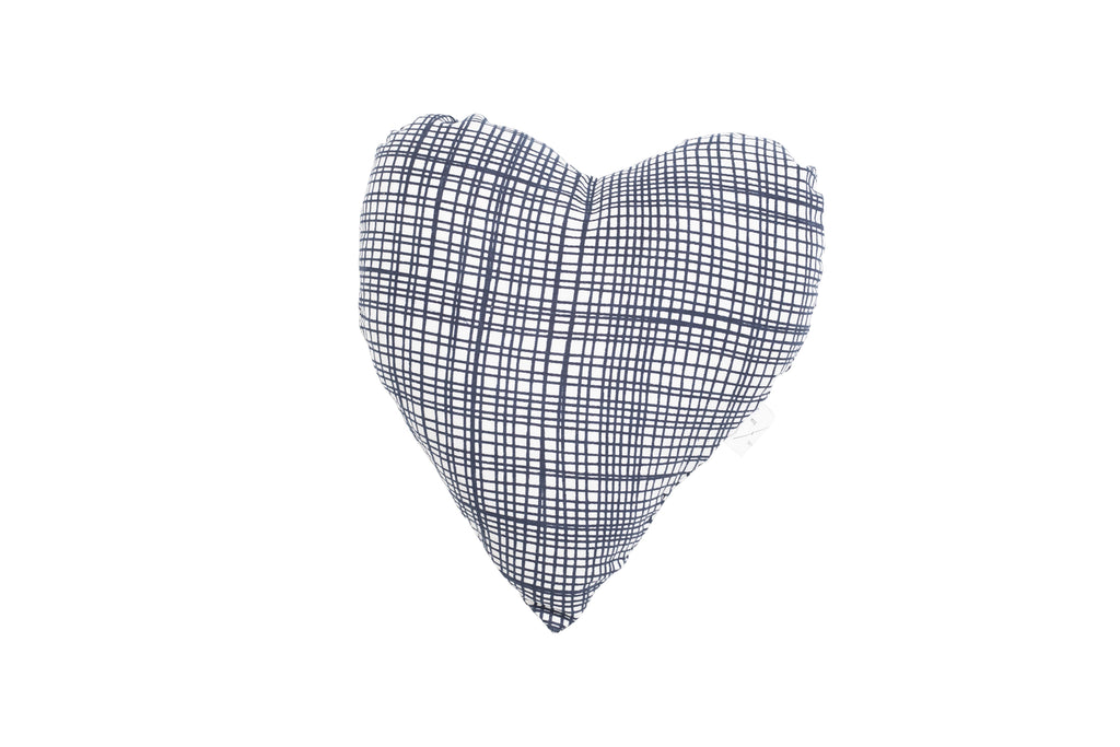 Heart Shaped Soft Toy - Navy Linen Check Print