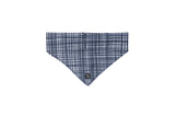 Dog Bandana - Navy Linen Check Print